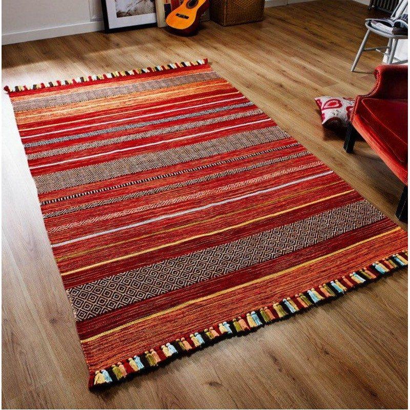 Natural Handmade Kilim Oriental Rug Red Orange Stripe The Rug Weaver